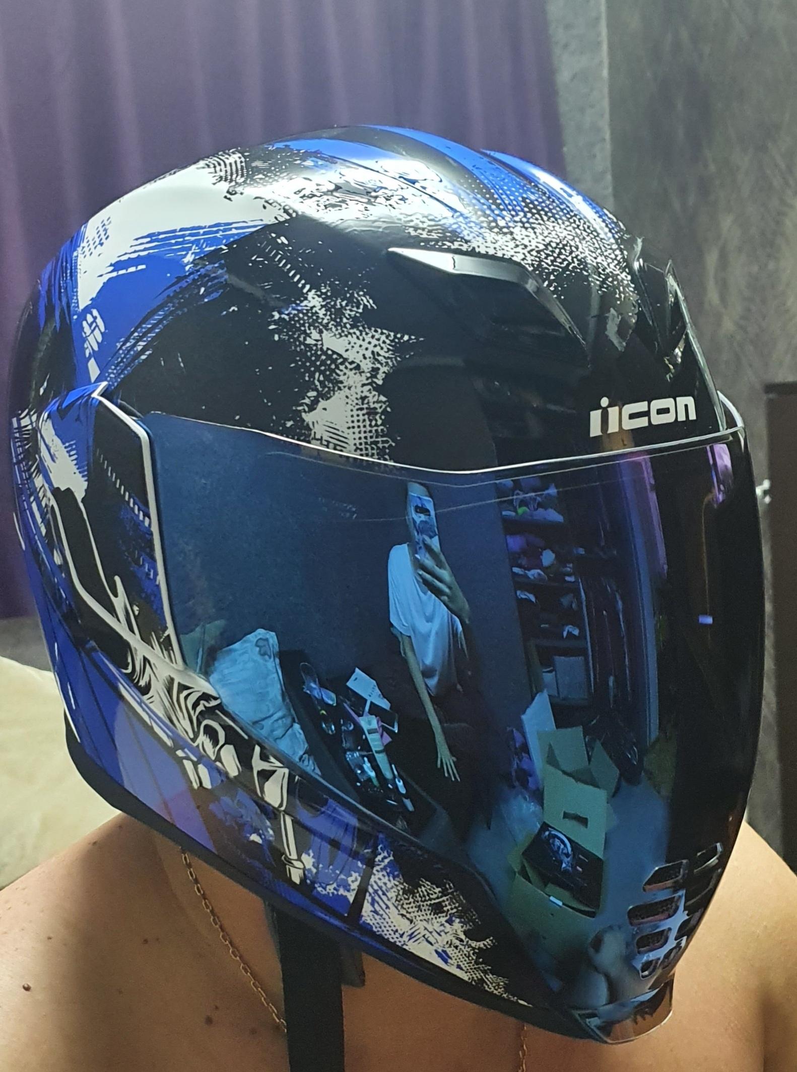 Icon Motosports Airflite STIM Full-Face Helmet Choose Size Blue